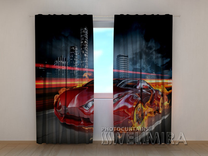 3D Curtain Fiery Supercar - Wellmira