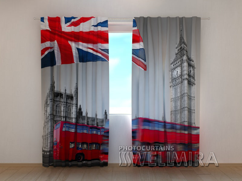 3D Curtain Flag over Big Ben - Wellmira