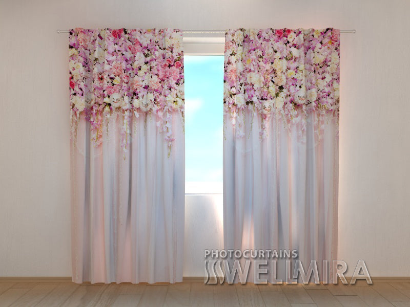 Photo Curtain Flower Lambrequins Pink Beauty - Wellmira