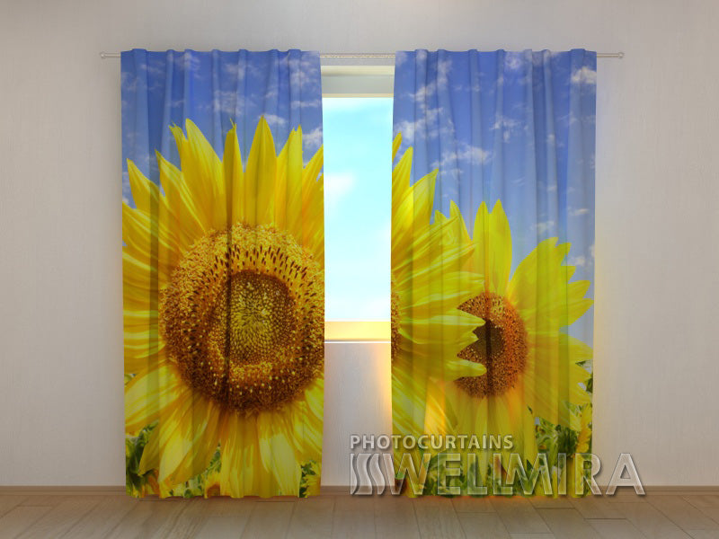 Photo Curtain Flowers of the Sun - Wellmira