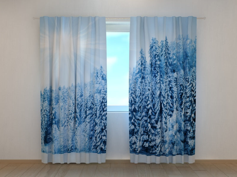 Photo Curtain Forest with Snow and Hoarfrost