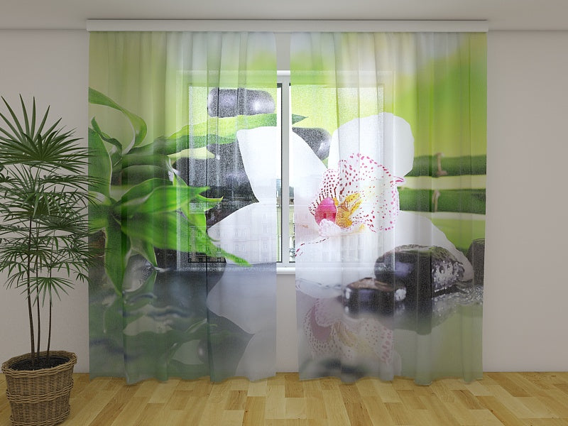Photo Curtain Bamboo Branches and White Orchid
