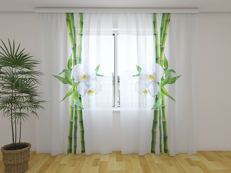 Photo Curtain Bamboo and White Orchid