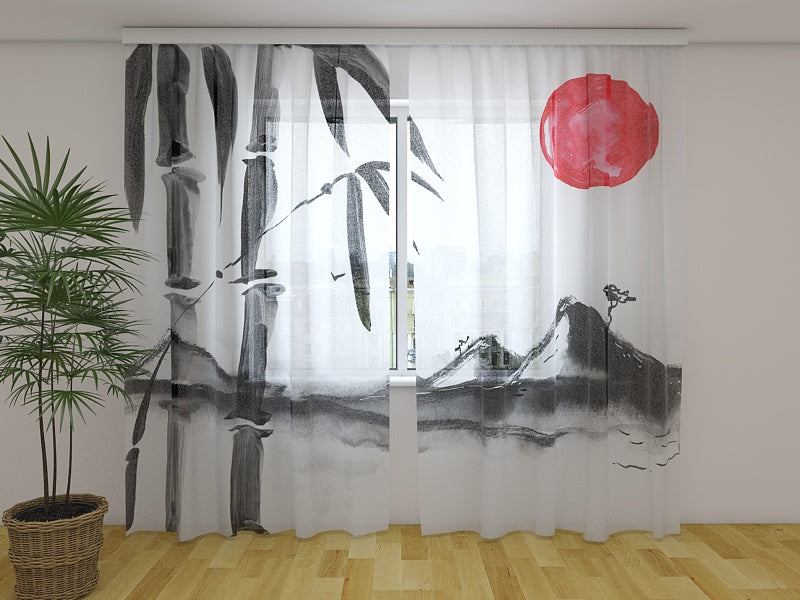 Photo Curtain Beautiful Japanese Watercolor