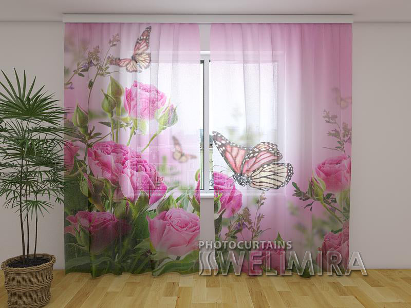 Photo Curtain Butterflies and Pink Roses - Wellmira