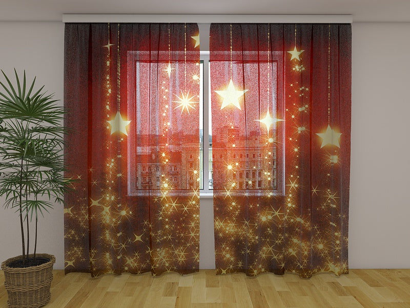 Photo Curtain Christmas Stars Background