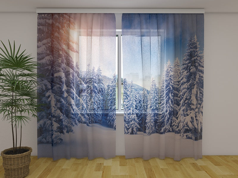 Photo Curtain Christmas Sunset
