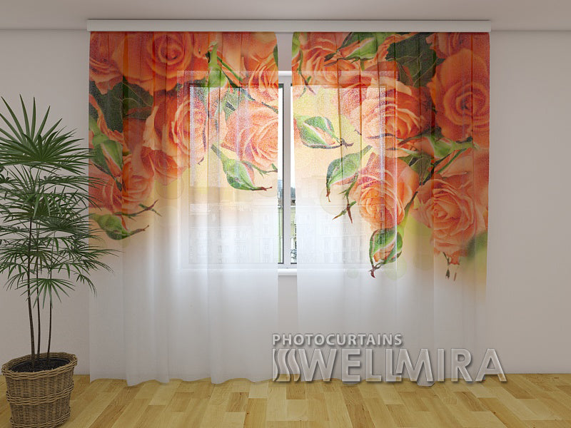 Photo Curtain Orange Roses - Wellmira
