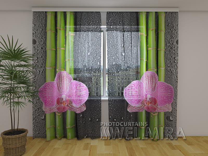 Photocurtain Orchids and Bamboo 2 - Wellmira