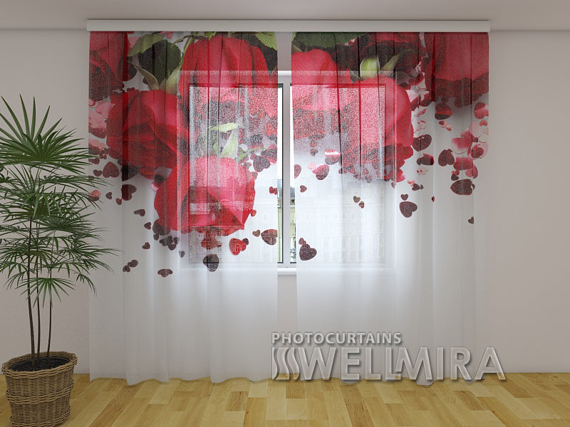 Photo Curtain Roses and Hearts