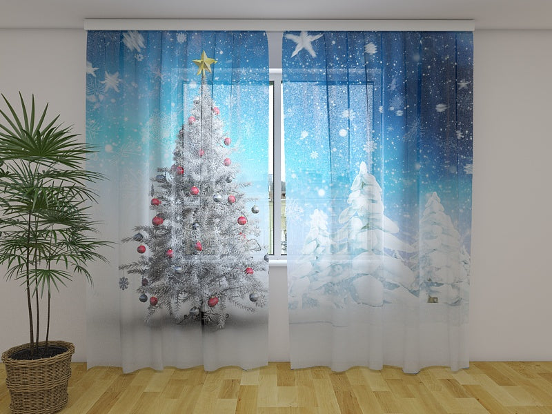 Photo Curtain White Christmas Trees