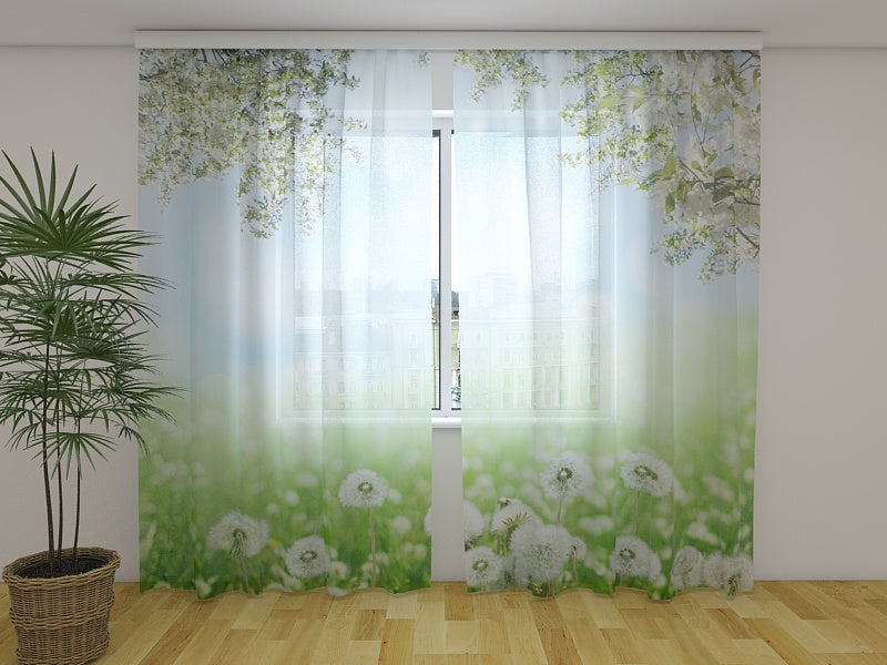 Photo Net Curtain White Dandelions - Wellmira