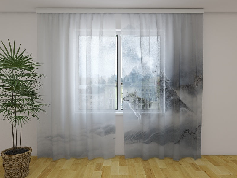Photo Curtain Wolves in Mist