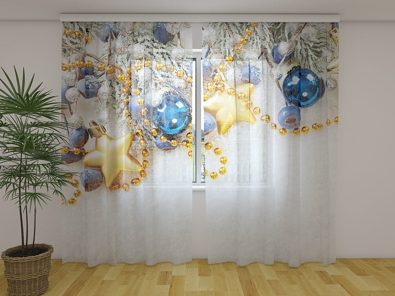 Photo Curtain Xmas Decorations on the Snow
