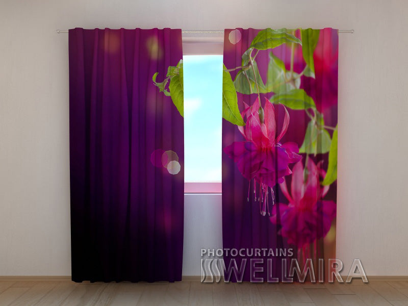 Photo Curtain Fuchsia Flowers - Wellmira