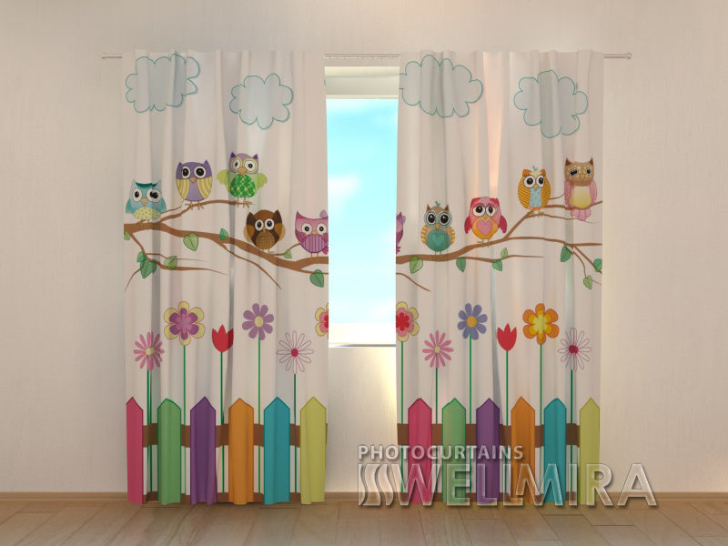 3D Curtain Funny Owl - Wellmira