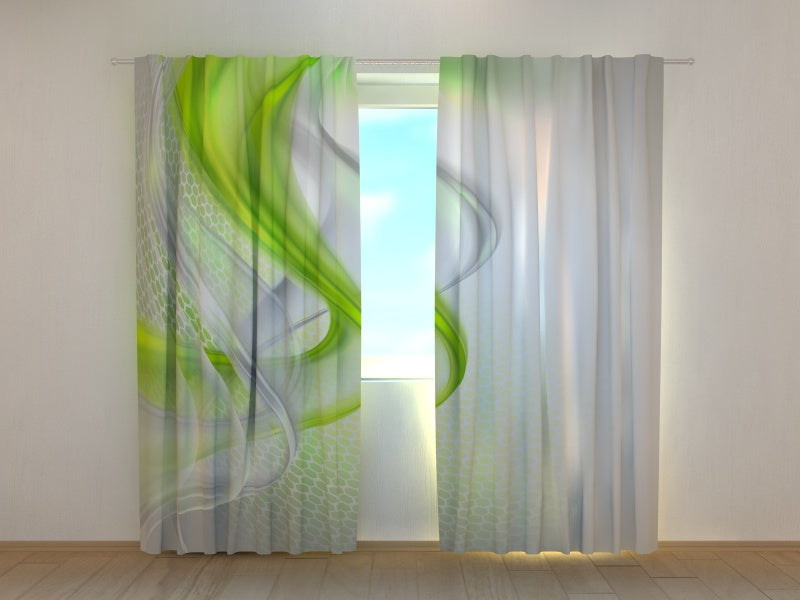 Photo Curtain Green Abstraction
