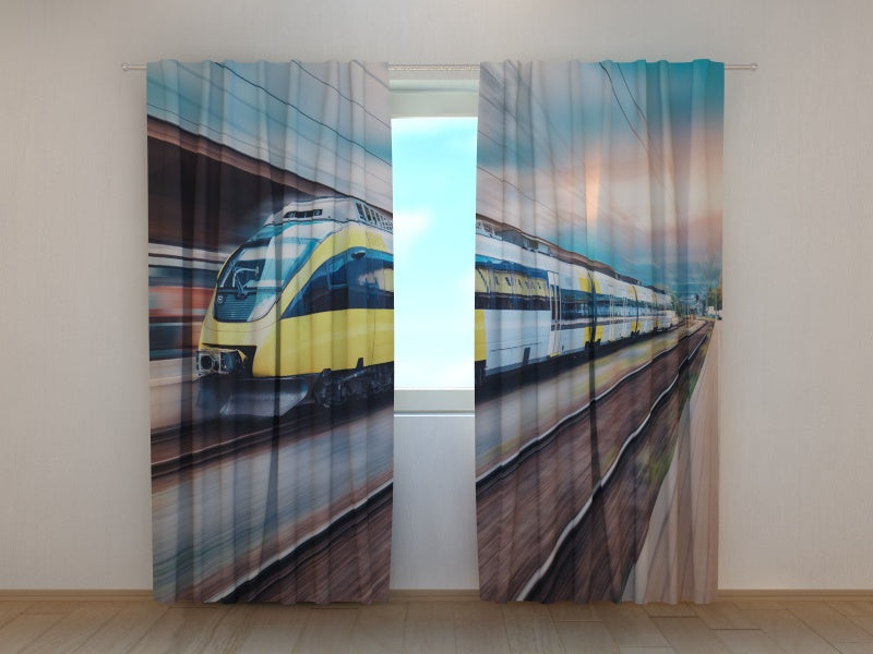 Photo Curtain High Speed Yellow Train