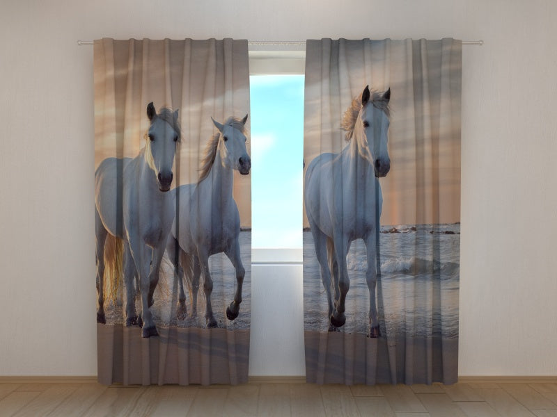 Photo Curtain Horses Family