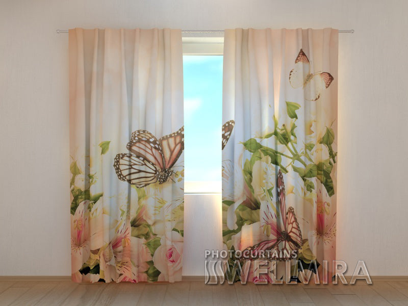 Photo Curtain Irises and Butterflies - Wellmira