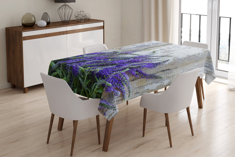 Tablecloth Lavender on the wood - Wellmira