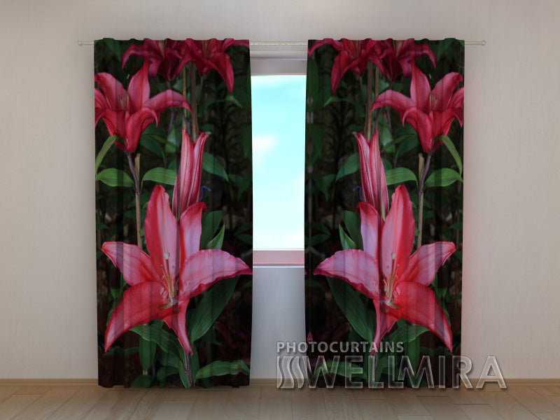 Photo Curtain Lilies in the Garden - Wellmira