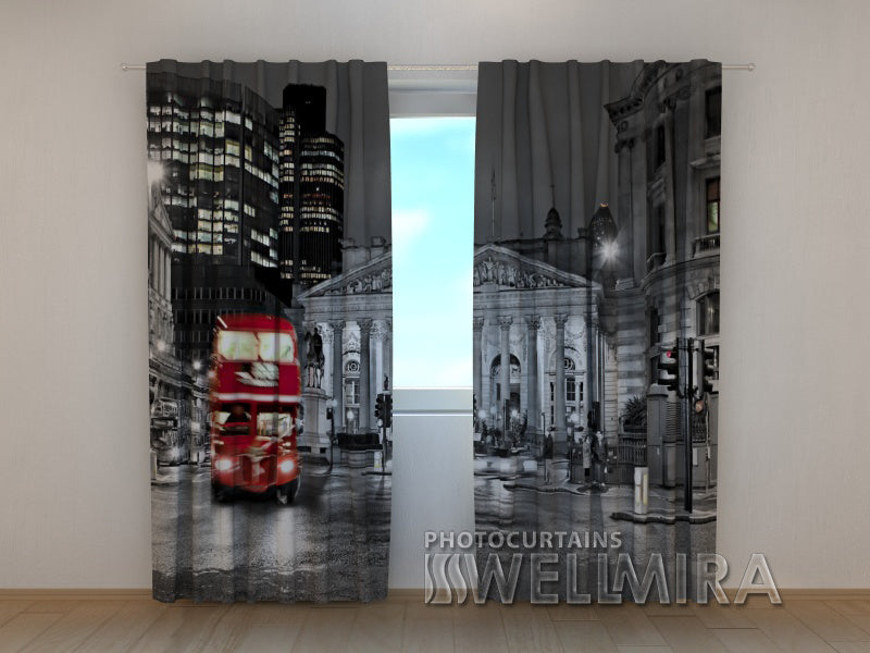 Photo Curtain London With Red Bus - Wellmira
