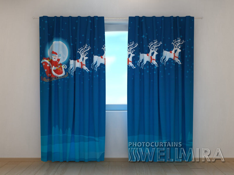 3D Curtain Merry Santa - Wellmira