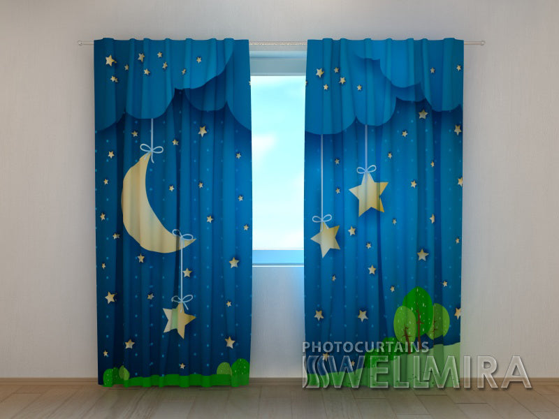 3D Curtain Moon and Stars - Wellmira