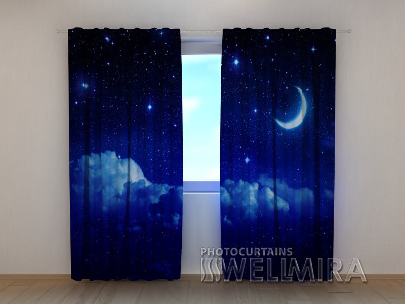 3D Curtain Moon over the Clouds - Wellmira
