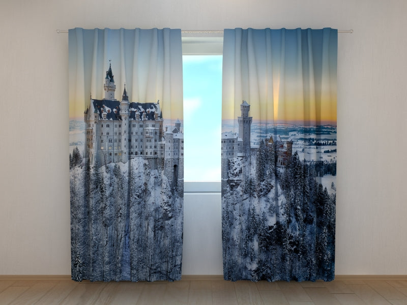 Photo Curtain Neuschwanstein Castle in Winter - Wellmira