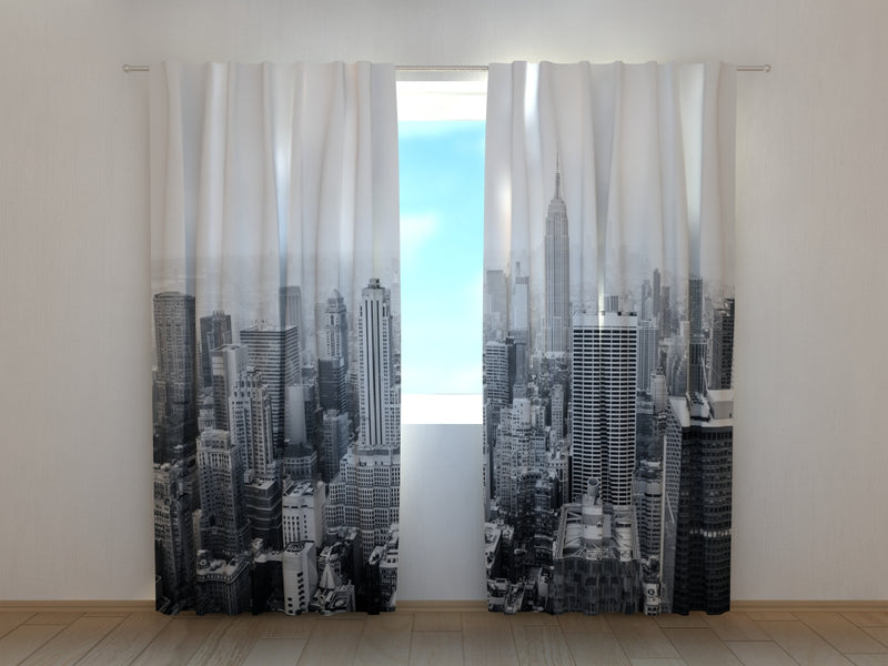 Photo Curtain New York in Black and White - Wellmira