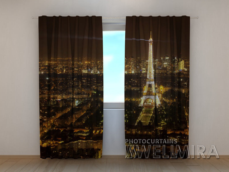 3D Curtain Night Paris - Wellmira