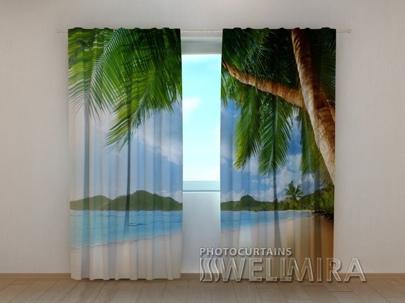 Photo Curtain Ocean and Palm trees - Wellmira