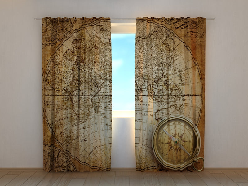 Photo Curtain Old Compass on the Map