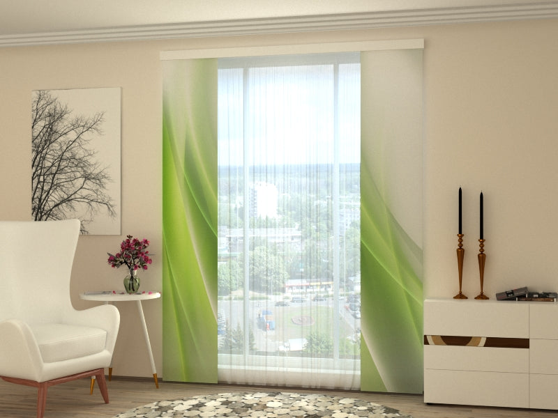 Set of 2 Panel Curtains Abstraction of Lime - Wellmira