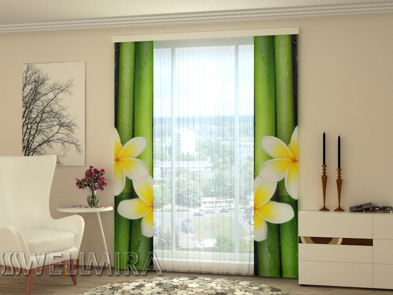 Set of 2 Panel Curtains Bamboo and Plumeria - Wellmira