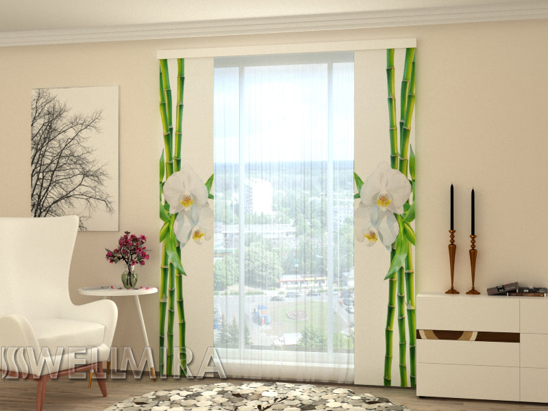 Set of 2 Panel Curtains Bamboo and white orchid - Wellmira