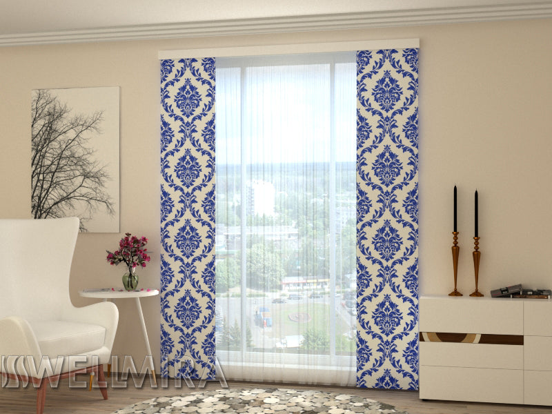 Set of 2 Panel Curtains  Blue Ornament - Wellmira