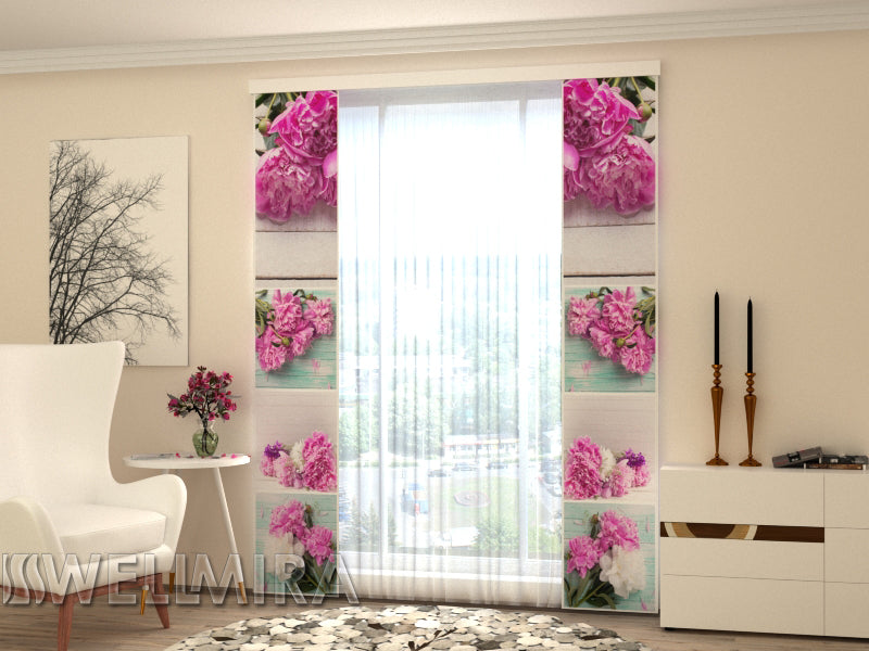 Set of 2 Panel Curtains  Collage Peonies - Wellmira