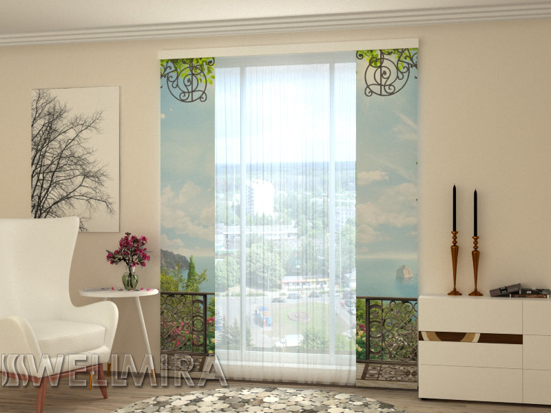 Set of 2 Panel Curtains  Cove in Greece - Wellmira