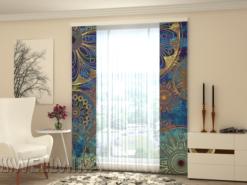 Set of 2 Panel Curtains  Golden Ornament - Wellmira
