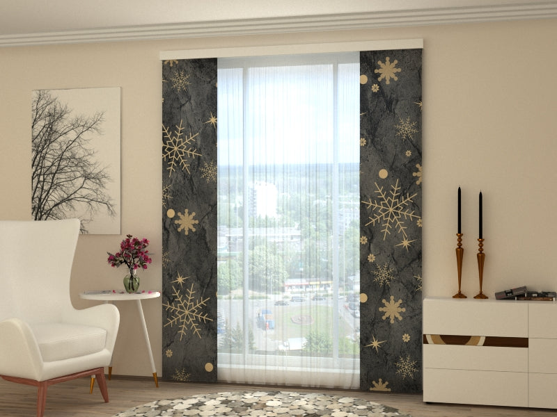 Set of 2 Panel Curtains Golden Snowflakes - Wellmira