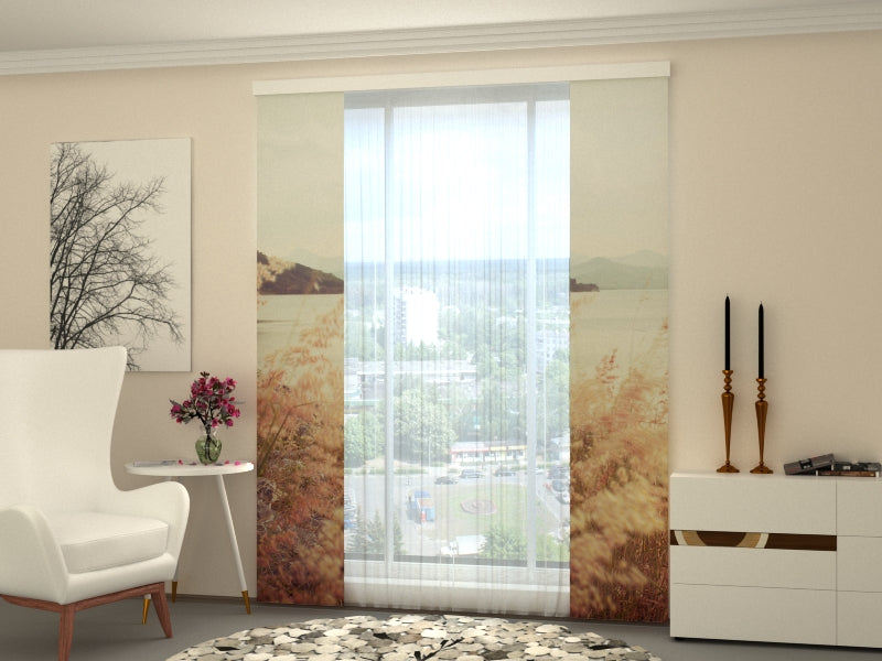 Set of 2 Panel Curtains Grass and Mountains in Vintage Style