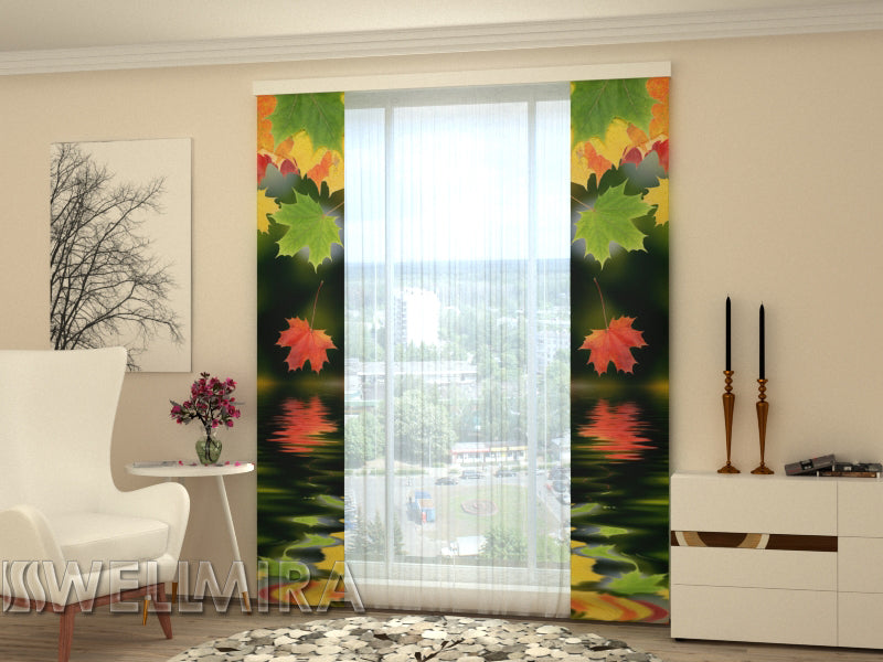 Set of 2 Panel Curtains Leaves over the Water - Wellmira