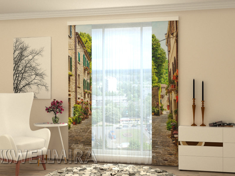 Set of 2 Panel Curtains Narrow street in Italy - Wellmira