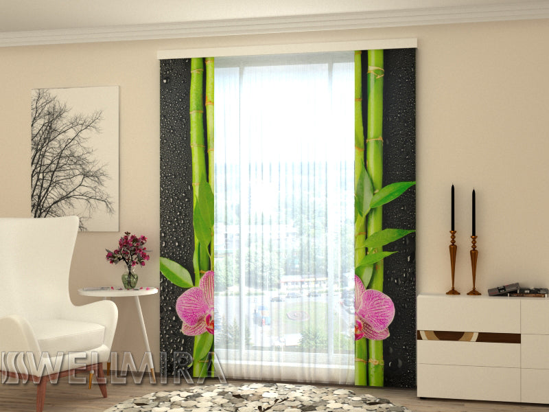 Set of 2 Panel Curtains Orchids and Bamboo 3 - Wellmira