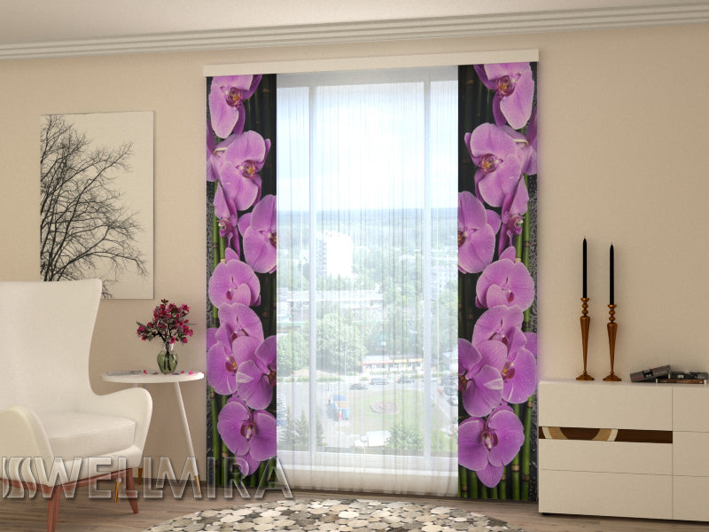 Set of 2 Panel Curtains Orchids on black - Wellmira