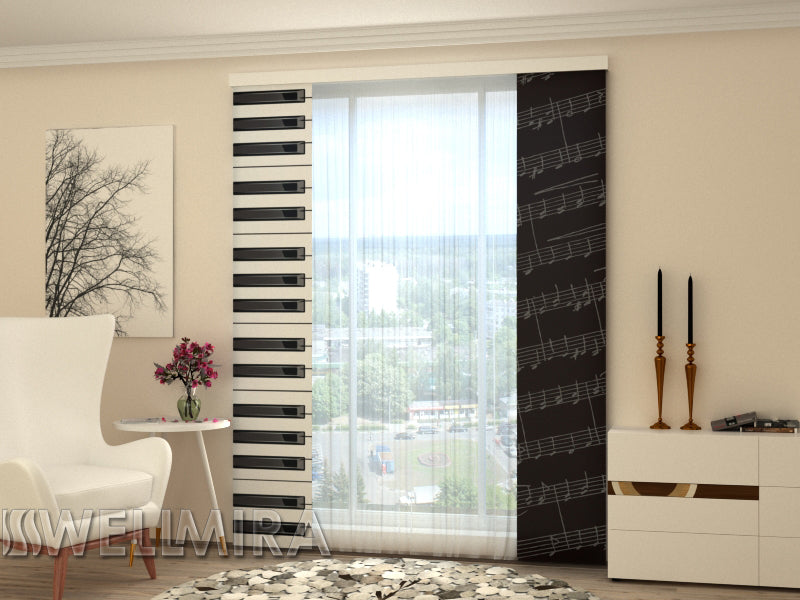 Set of 2 Panel Curtains Piano keys - Wellmira