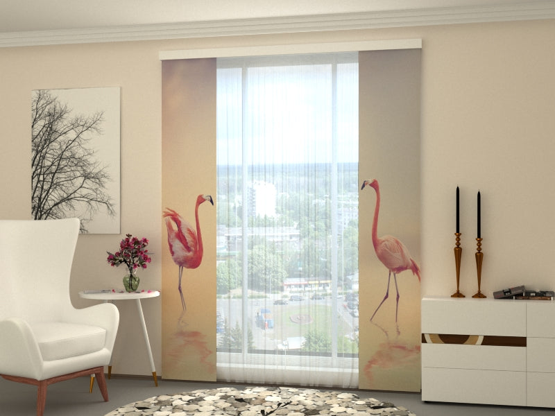 Set of 2 Panel Curtains Pink Flamingos at Sunset